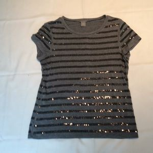 Ann Taylor striped sequined top